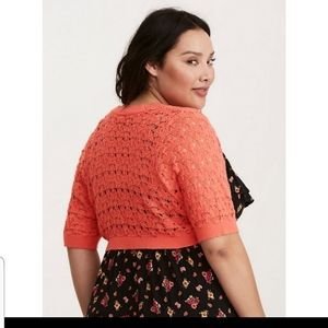 Coral pointello knit Bolero shrug